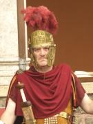 Grim looking roman soldier