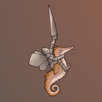 Pixie knight with seahorse